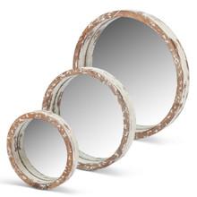 Set of 3 Cream Worn Wood Round Rimmed Mirrors