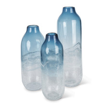 Set of 3 Indigo Ink Artisanal Tall Art Glass Vase