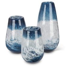 Set of 3 Indigo Ink Artisanal Art Glass Vase