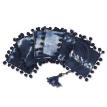 Tassel Tied Indigo Ink Tie Dye Coasters with Pom Pom Trim - 36 Pieces (12 of each design)