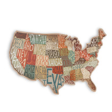 Arty Metal Mounted State Map on Wooden USA