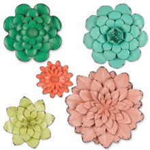Set of 5 Colorful Metal Wall Flower Dimensional Decor