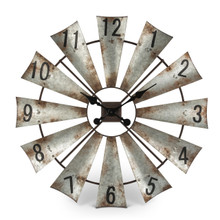 "Rustic Metal Round Windmill Wall Clock 30""D"