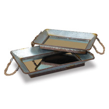 Set of 2 Galvanized Mirrored Bottom Trays with Rope Handles