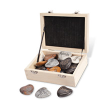 """24 Assorted Engraved Marble Hearts in Wood Display Box, 1.8""""D"""