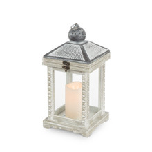 "Antique Wood and Metal Top Lantern with LED Candle and Timer 13"" - 2 Lanterns"