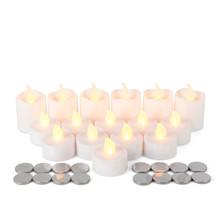 Pack of 16 White Plastic Super Bright LED Tea Light and Votive Value Pack - 6 Sets