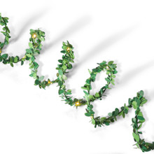 10ft Green Boxwood Leaf Battery Micro LED Garland with Timer - 6 Sets