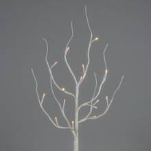 "27"" White Wrapped Branch 15L with Timer - 6 Sets"