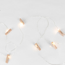 10ft Battery Operated Wooden Clothespin Lights - 6 Sets