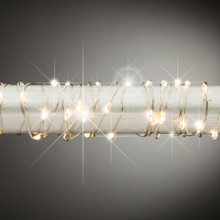 5ft Warm White Twinkling Micro LED Battery Light String with Timer, Silver Wire - 12 Sets