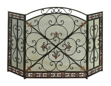 3- Panel Metal Fire Screen With Traditional Design, Bronze