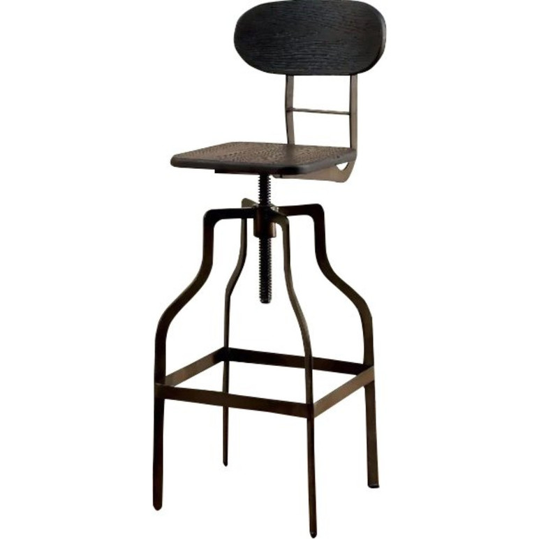 Industrial Style Wooden Swivel Bar Stool With Black Metal