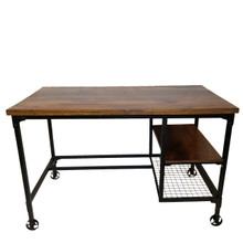 Industrial Design Office Computer Desk With Two Side Shelves, Brown And Antique Black