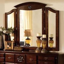 Tuscan II Traditional Style Tri-Fold Mirror , Dark Pine
