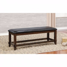 Meagan I Transitional Style Bench , Brown Cherry