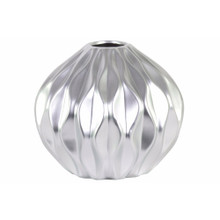 Round Low Vase with Round and Small Lip, Wave Design- Silver