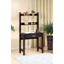 Contemporary Style Desk With 2 Shelves, Dark Brown