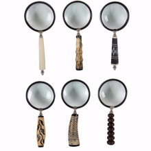Set of 6 Magnifying Glasses with elegant handle, Multicolor