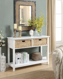 Flavius Console Table with 2 Drawers, White
