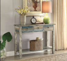 Beautiful Console Table, Antique Oak & Teal Blue