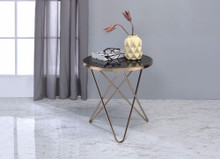 End Table, Black Glass & Champagne