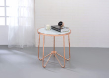 End Table, Frosted Glass & Rose Gold