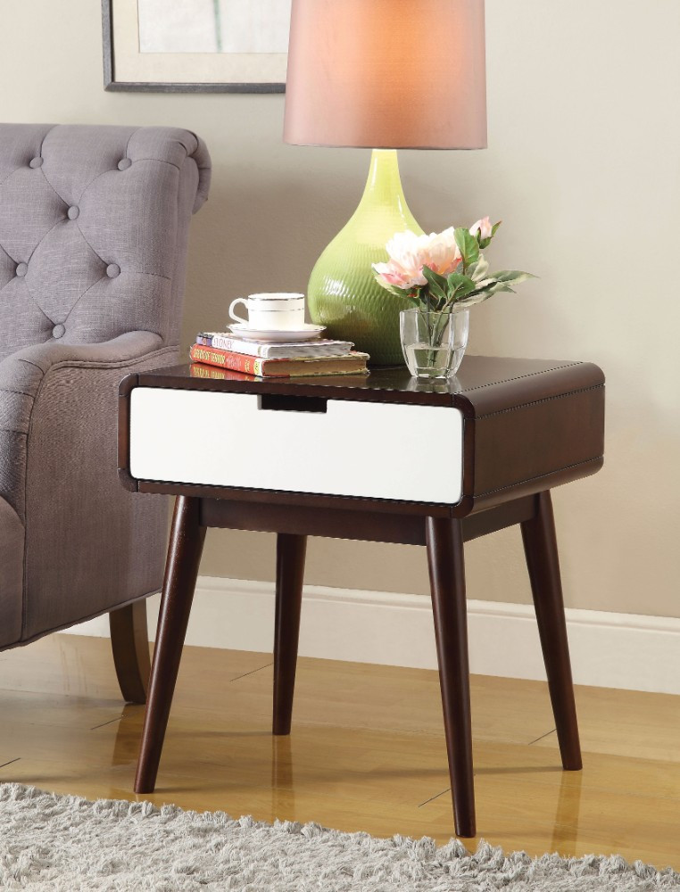 End Table (USB Power Dock), Espresso & White
