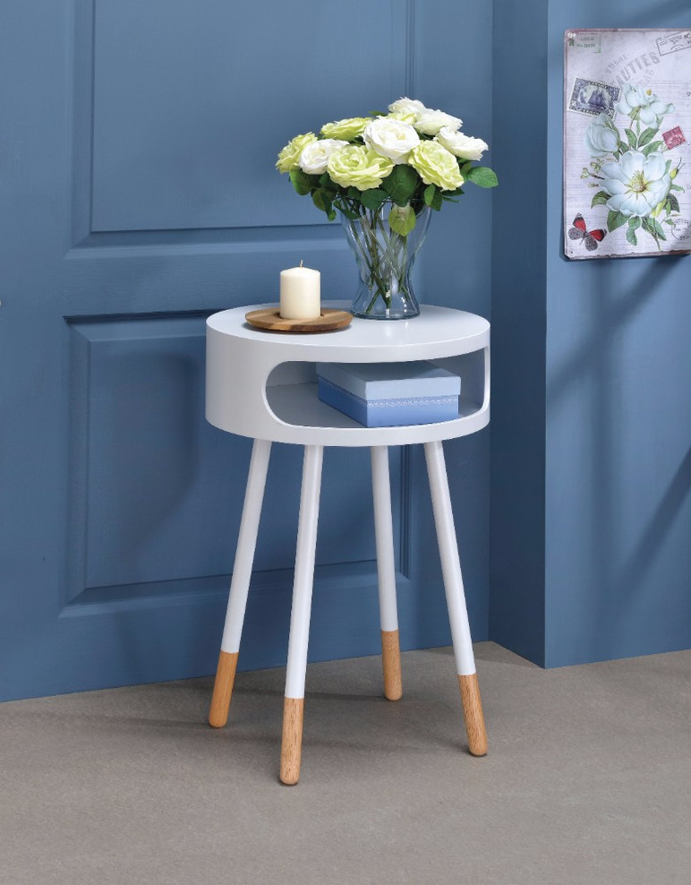 Round End Table, White & Natural