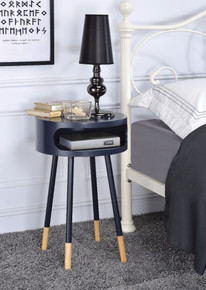 Round End Table, Black & Natural