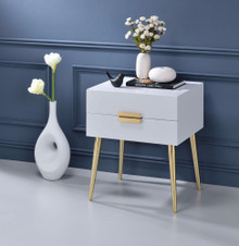 Square End Table with Drawers, White & Gold