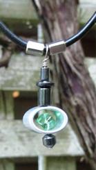 infinite jewelley emerald bead with hematite pendant