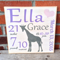 baby girl birth sign plaque
