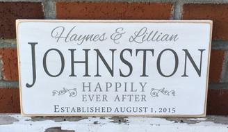 Happily Ever After Shabby Chic Personalized Wood Sign (with Dark Grey last name)
