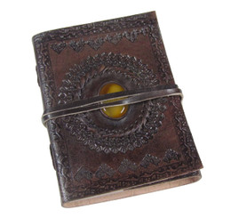 Tooled & yellow centre stone LEATHER JOURNAL - Old World Style