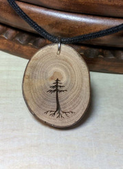 Rustic Wood Pendant - Evergreen with Roots