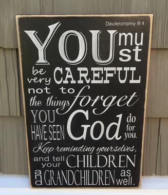 Deuteronomy 9:4 Wood Sign