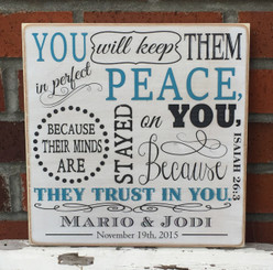 Isaiah 26:3 - personalized family sign