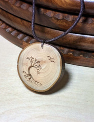 Rustic Wood Pendant - Windswept Arbutus with Roots and Birds