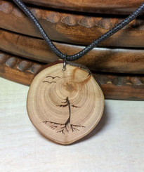 Rustic Wood Pendant - Evergreen Tree with Roots and Birds.