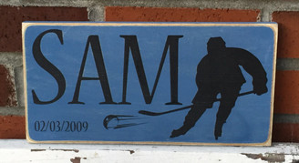 Little Boy Name Sign with Hockey Theme