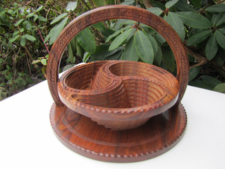 Collapsible Wooden Basket 12 inch Three Compartment