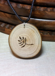 Rustic Wood Pendant - Olive Branch