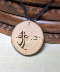 Rustic Wood Pendant - Evergreen Tree with Birds
