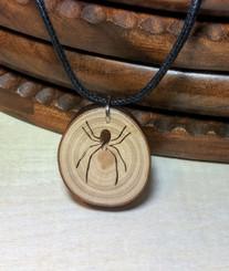 Rustic Wood Pendant - Spider