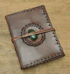 stitch with stone hand made small leather journal