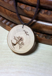 Rustic Wood Pendant - Windswept Arbutus With Birds