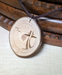 Rustic Wood Pendant - Two Are One Evergreen Tree with Birds