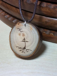 Rustic Wood Pendant - Evergreen Tree with Roots and Birds