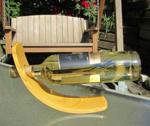 Curved Fustic Wood Wine Bottle Holder